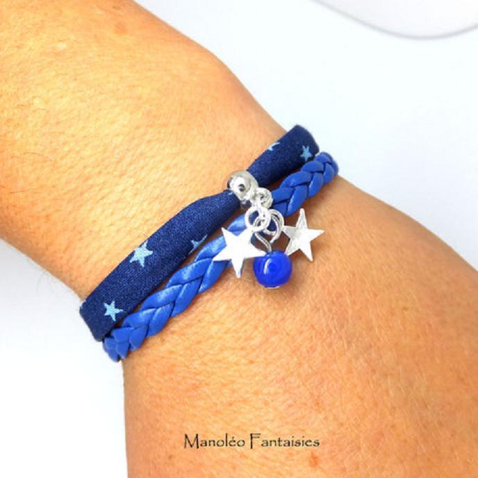 Bracelet mini manchette ETOILES 2 liens dans les tons bleu et argenté