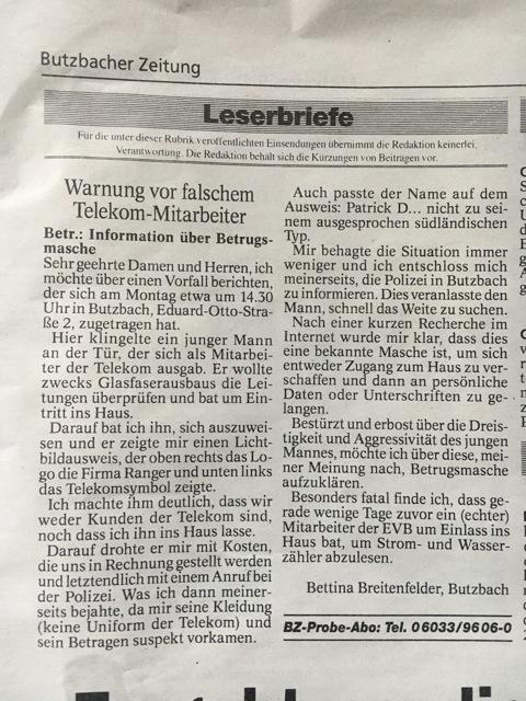 Quelle: Butzbacher Zeitung 09.12.2020