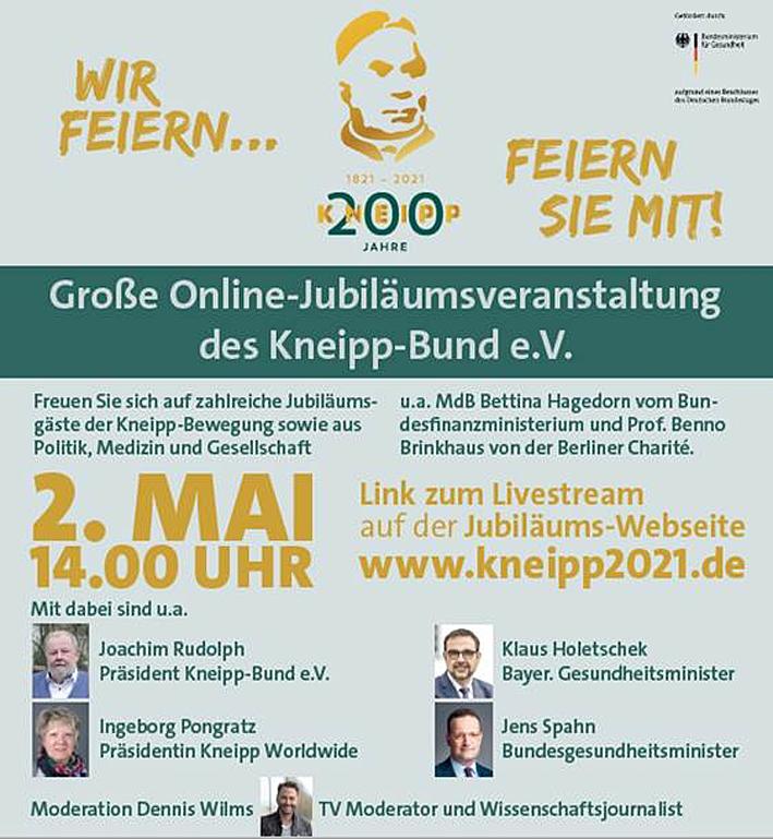 Online Jubiläumsveranstaltung des Kneipp-Bund e.V. am 2. Mai 2021