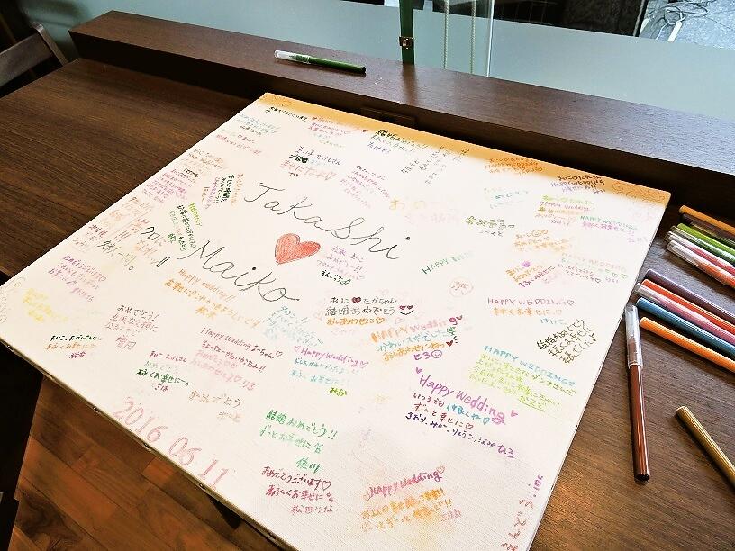 大阪本町での結婚式二次会 寄せ書きボード