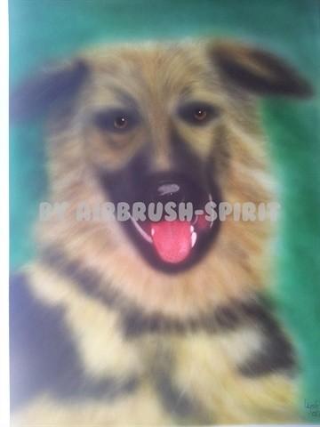 Schäferhund Pia - 2012 - auf Airbrush-Karton