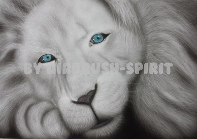 Weißer Löwe - 03/2015 - auf Airbrush-Karton