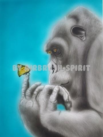 staunender Gorilla - 09/2014 - auf Airbrush-Karton