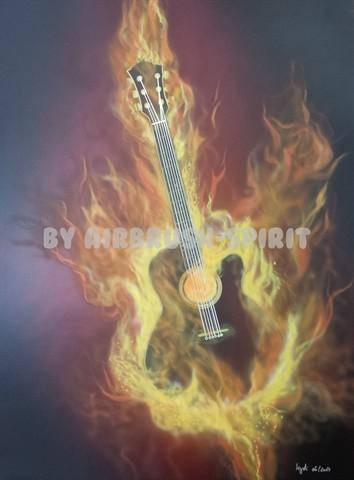 Brennende Gitarre - 06/2014 - auf Airbrush-Karton