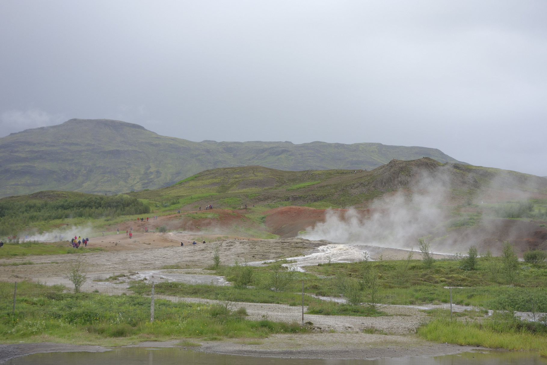 Das Thermalfeld Haukadalur mit dem Geysir Strokkur
