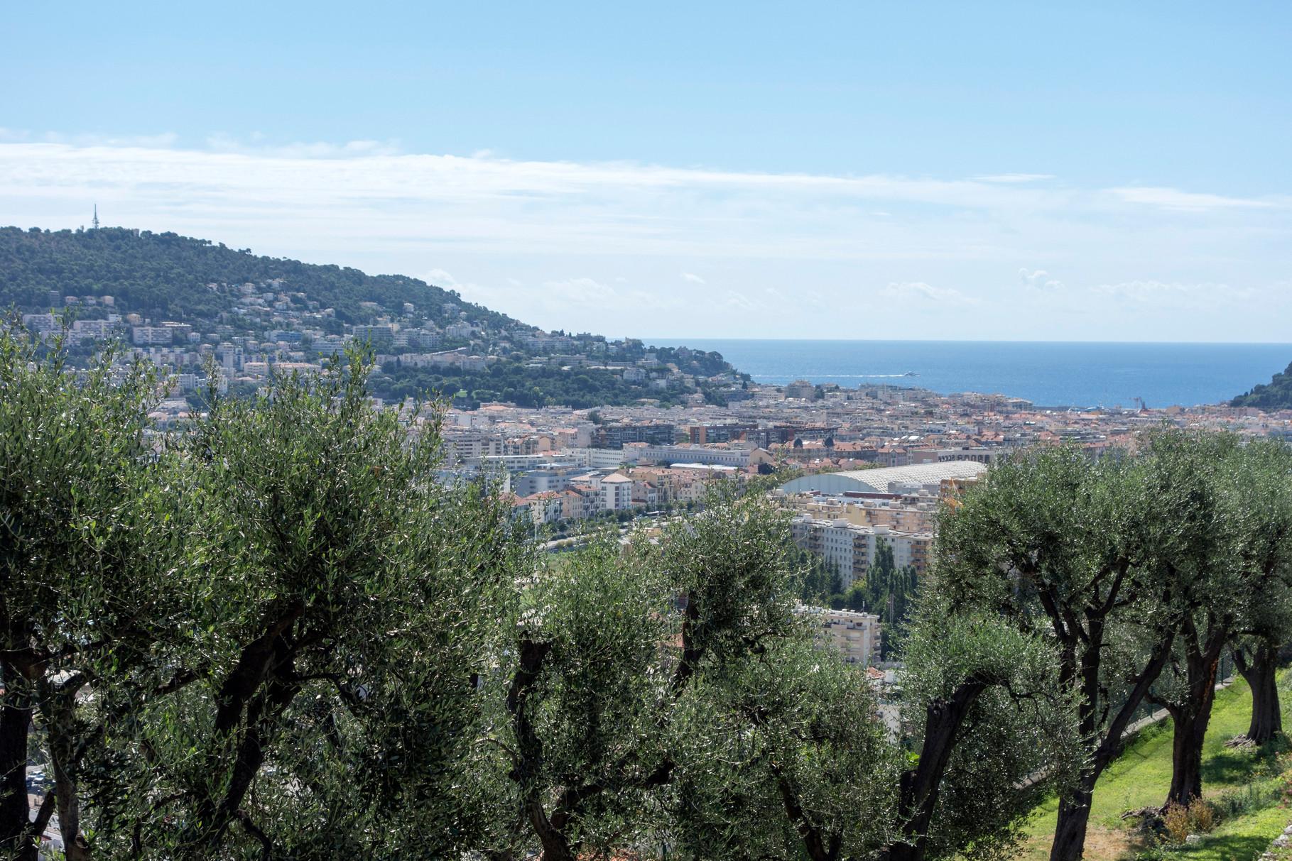 Blick vom Klostergarten Cimiez auf das Hafenviertel von Nizza