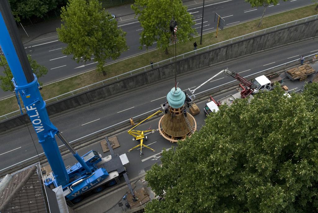 Blick vom Kirchturm auf die Baustelle