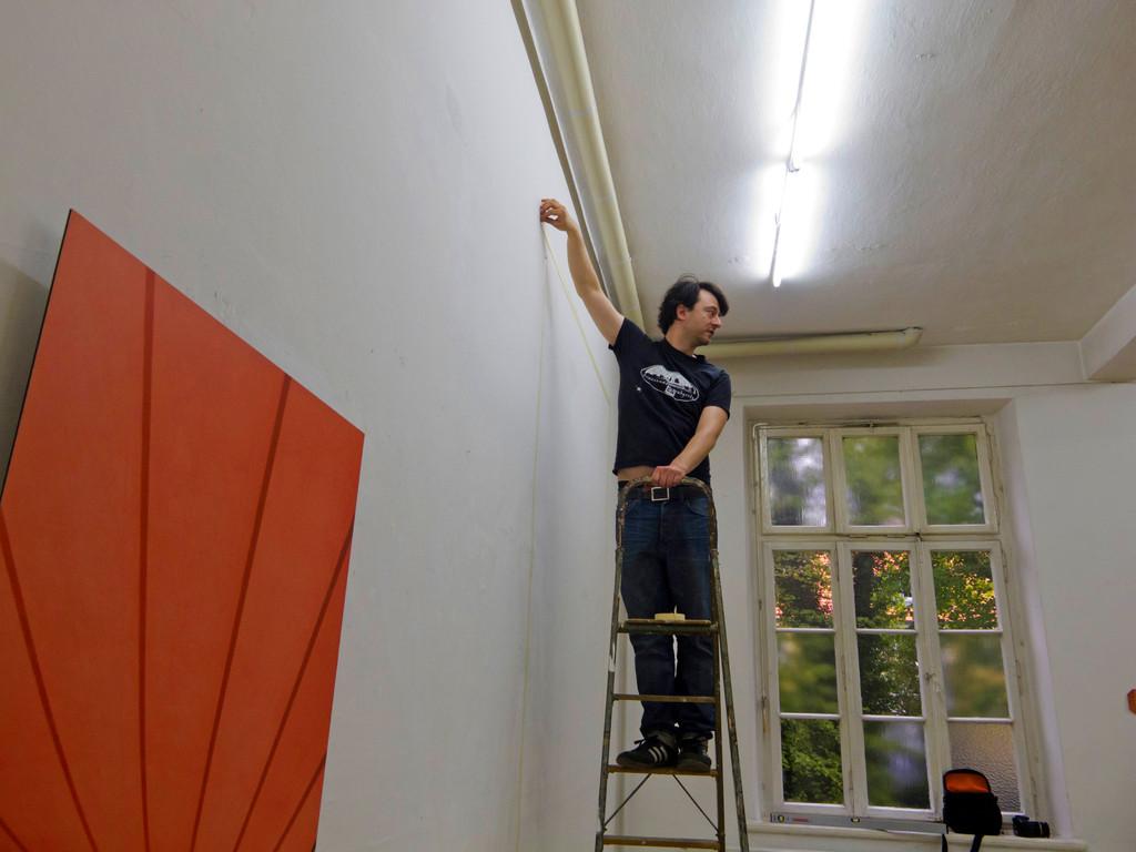 Tim Cierpiszewski beim Aufbau