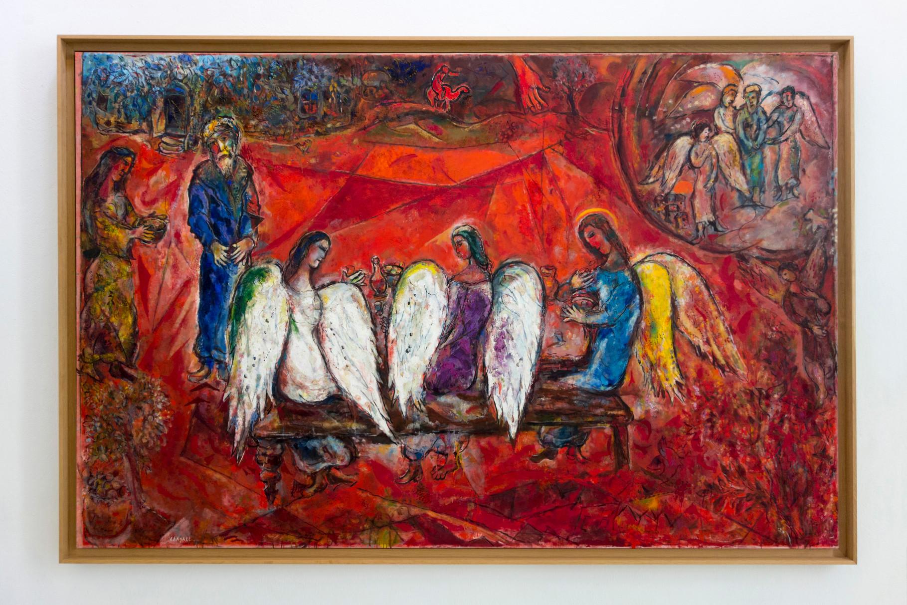 Abraham und die drei Engel 1960-1966, Öl auf Leinwand, 190 x 292 cm
