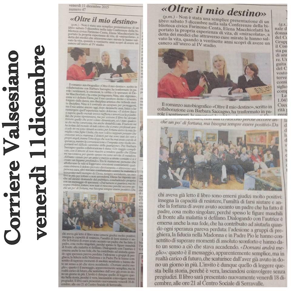 Corriere Valsesiano, 11 Dicembre 2015, a cura di Piera Mazzone