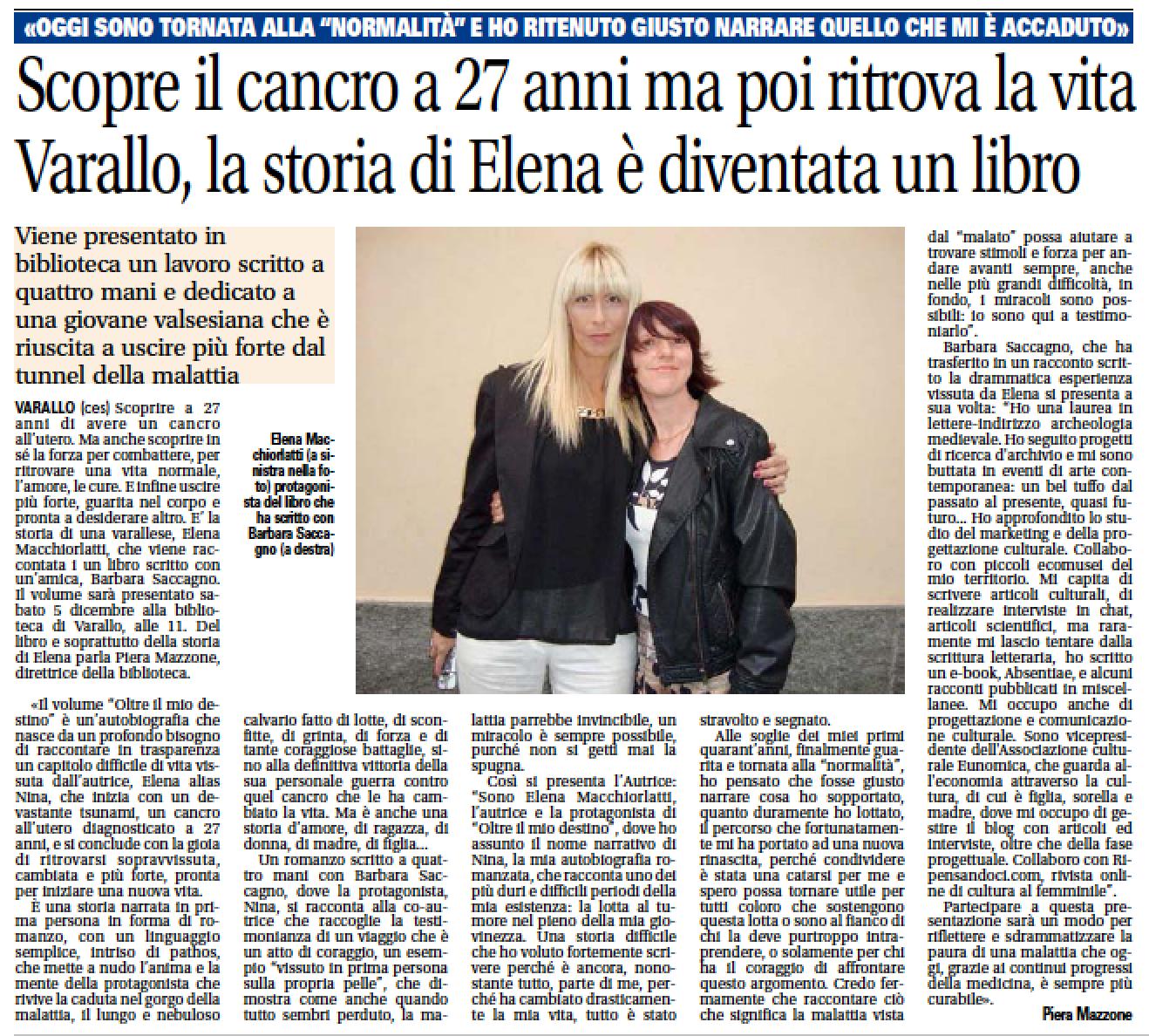 Notizia Oggi, 26 Novembre 2015, a cura di Piera Mazzone