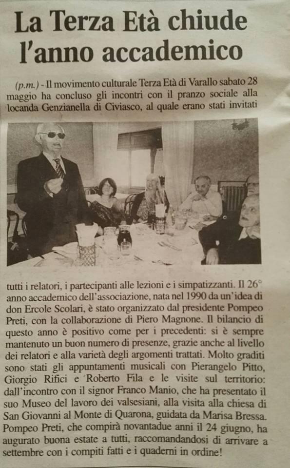 Il Corriere Valsesiano, 03 giugno 2016, Anno Accademico della Terza Età, con il presidente Pompeo Preti
