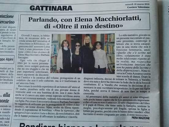Corriere Valsesiano, 18 marzo 2016, Piera Mazzone