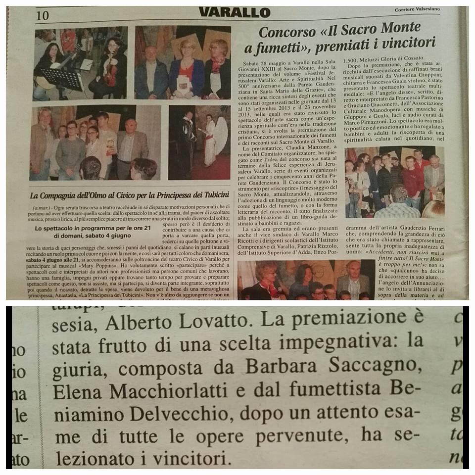 Il Corriere Valsesiano, 03 giugno 2016, In giuria del I Concorso Nazionale a Fumetti sul Sacro Monte di Varallo Sesia