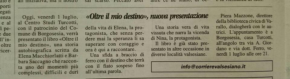 Corriere Valsesiano, 01 luglio 2016