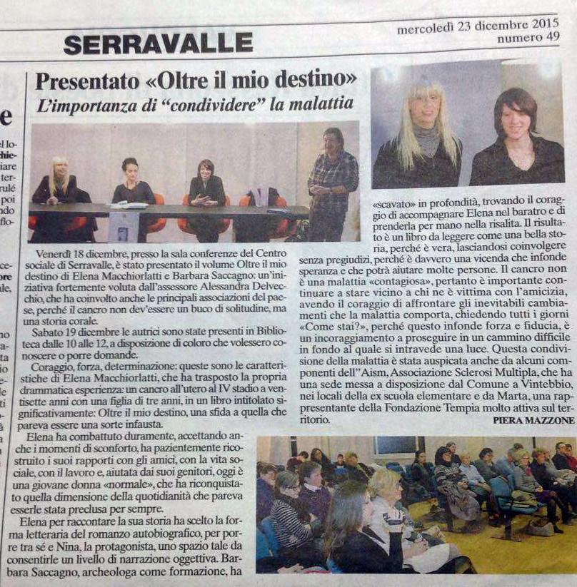 Corriere Valsesiano, 23 dicembre 2015, articolo di Piera Mazzone