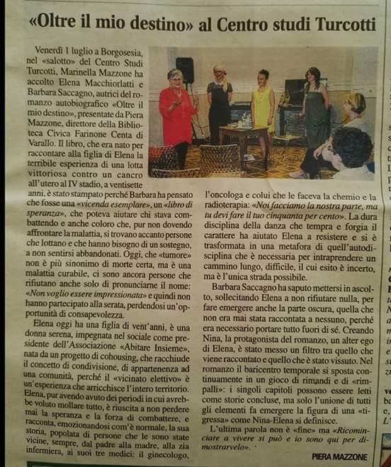 Corriere Valsesiano, 08 Luglio 2016, con Piera Mazzone e Marinella Mazzone Turcotti