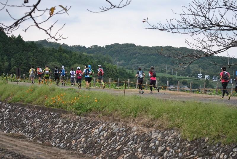 宮沢湖の堤防を走ります。