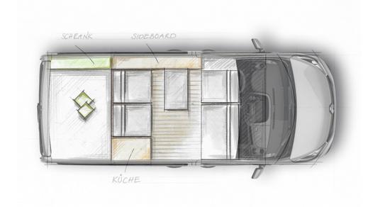 Grundriss Renault Trafic Camper Ausbau