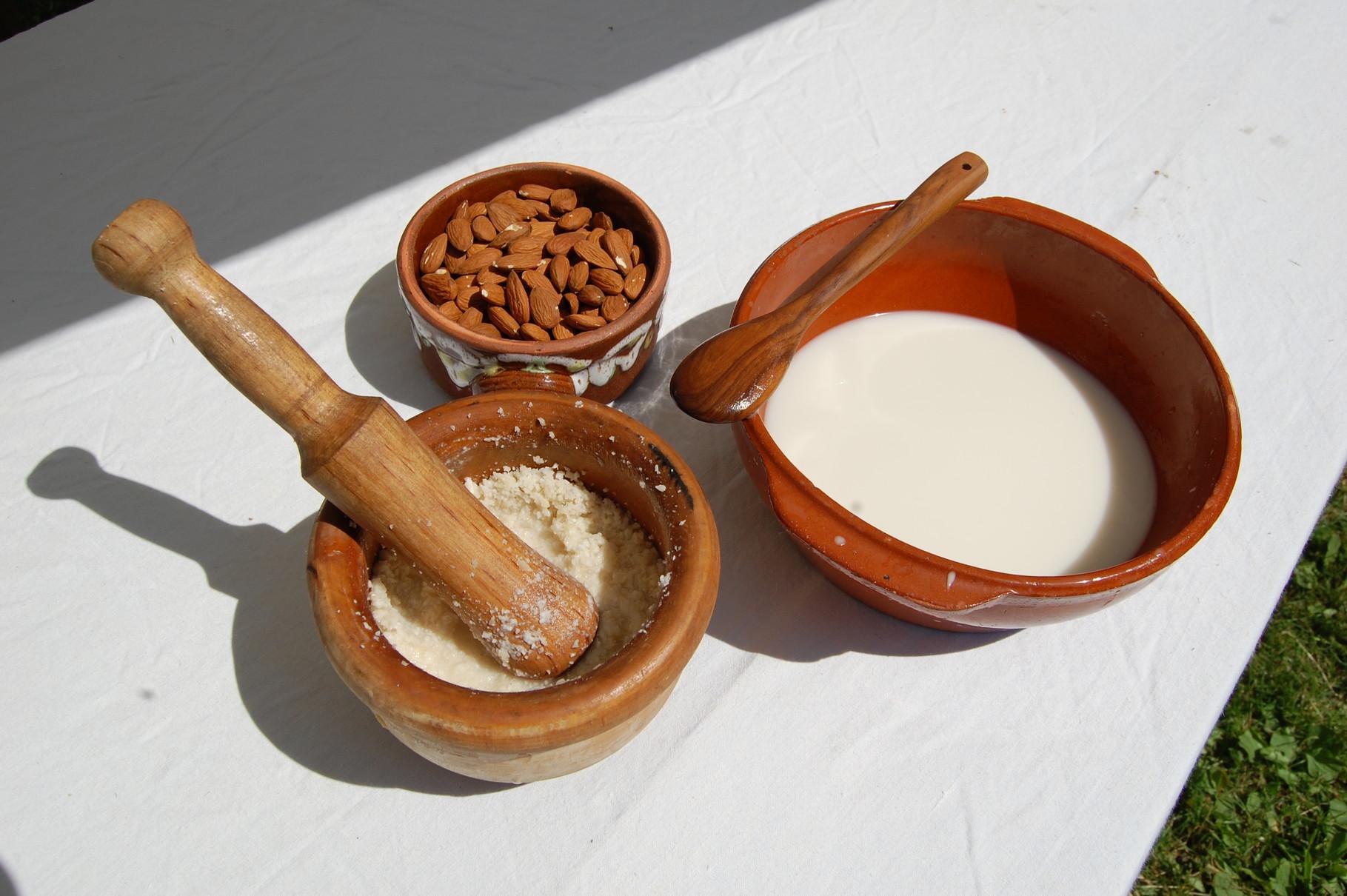 Préparation du lait d'amande