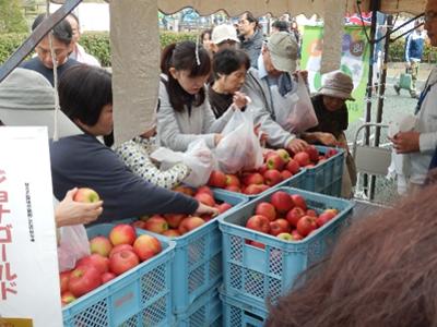 りんごの詰め放題には行列が。
