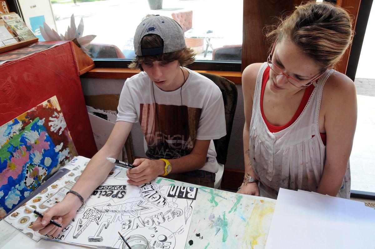 En atelier avec un lycéen du lycée agricole de Narbonne