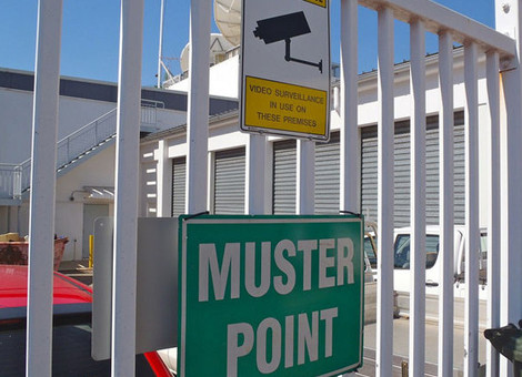 The security system for this site featured muster points located throughout the campus