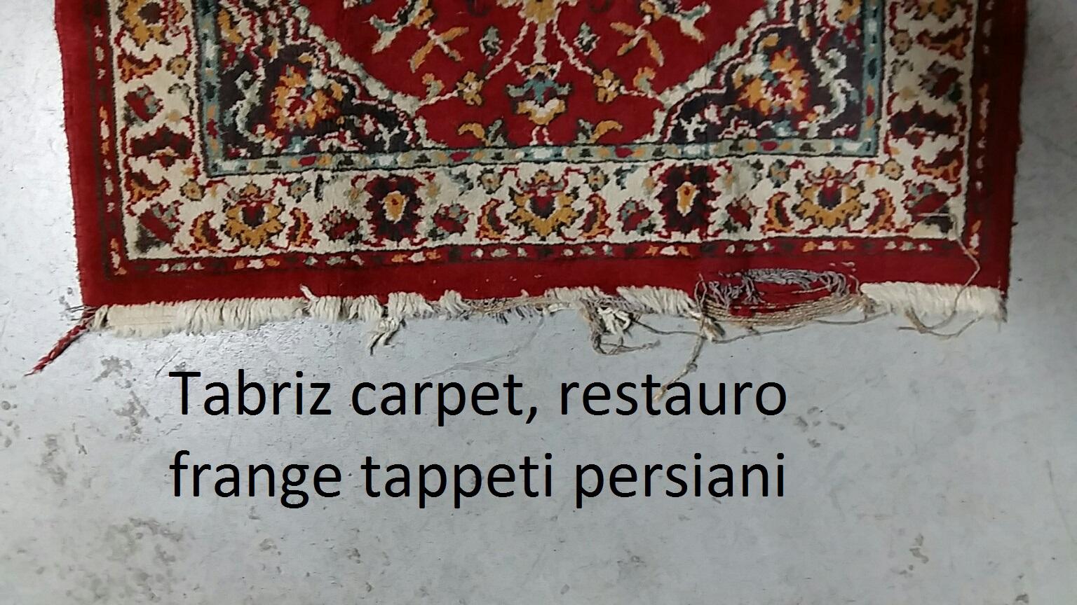 Riparazione frnge tappeto persiano