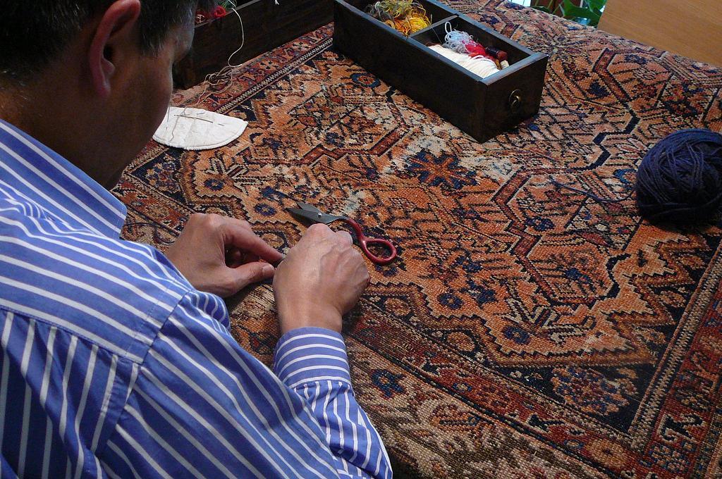 Restauro tappeto antico persiano Mishen Malayer del 800