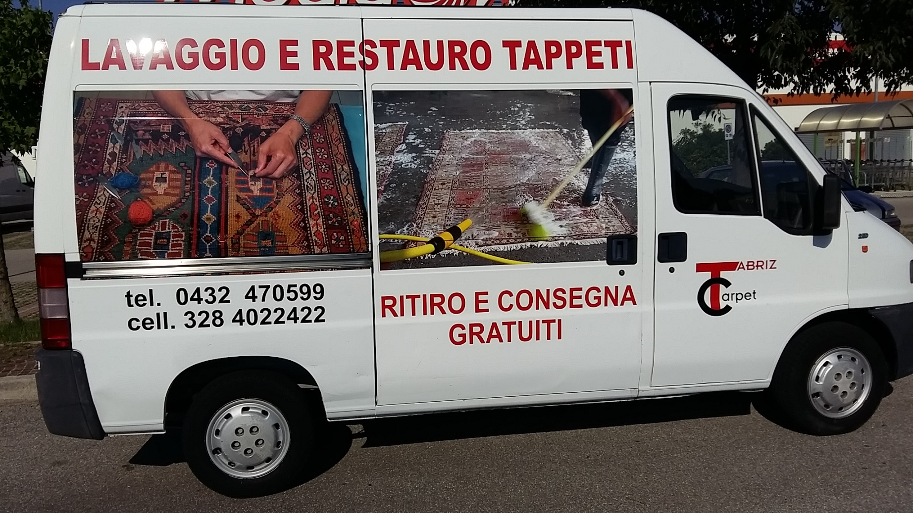 ritiro e consegna tappeti gratuiti da Campoformido