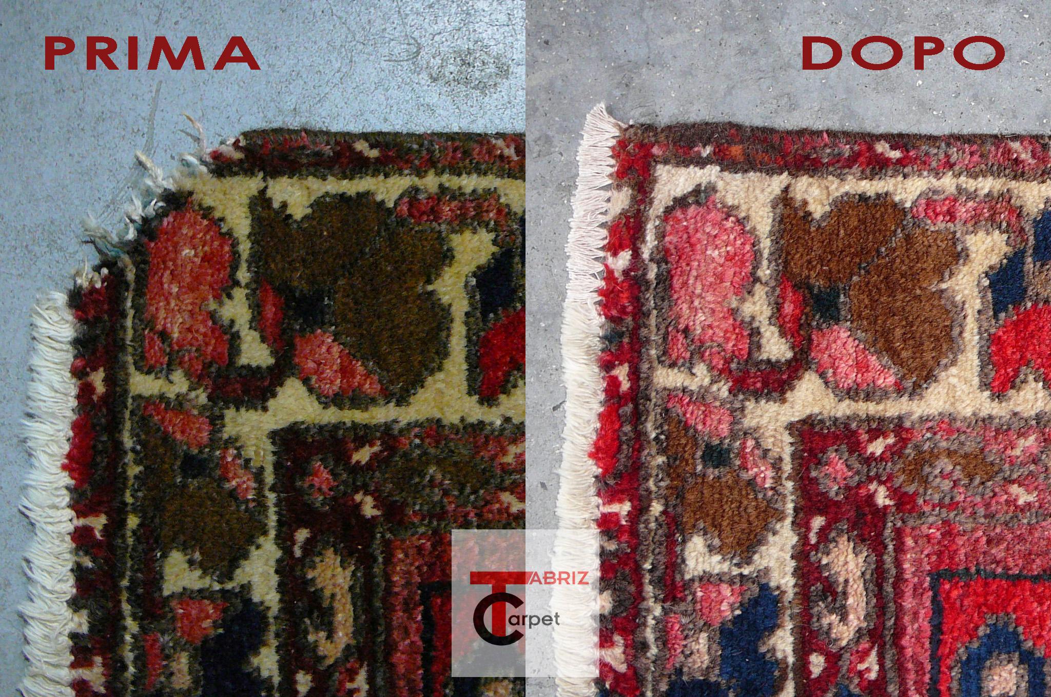 restauro angolo tappeto persiano prima e dopo Campoformido (UD)