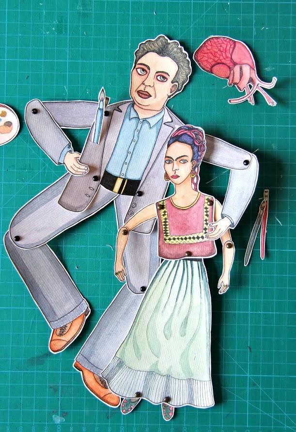 'Frida &Diego' Marionnette sur papier - encre de chine noire - aquarelle - pastels -