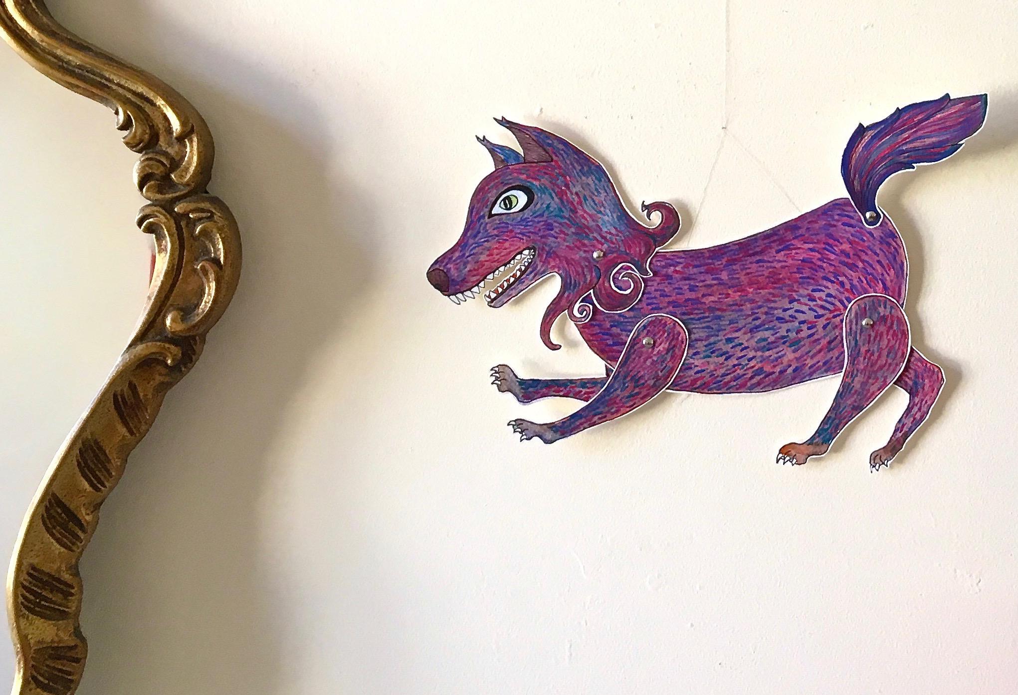'Loup'Marionnette sur papier - encre de chine noire - aquarelle - pastels -