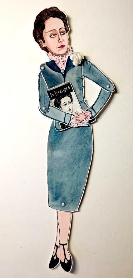 'Anais Nin'Marionnette sur papier - encre de chine noire - aquarelle - pastels -