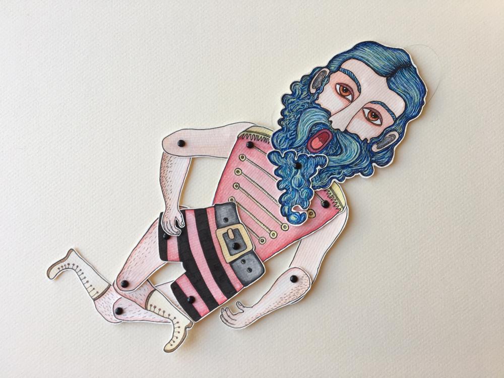 'Mangiafuoco'  Marionnette sur papier - encre de chine noire - aquarelle - pastels -