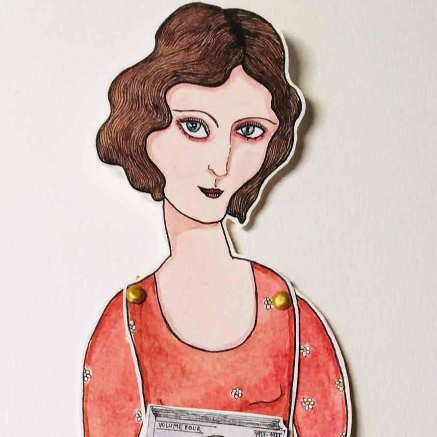 'Anais Nin II'Marionnette sur papier - encre de chine noire - aquarelle - pastels -