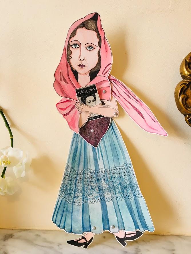 'Anais Nin IIIMarionnette sur papier - encre de chine noire - aquarelle - pastels -