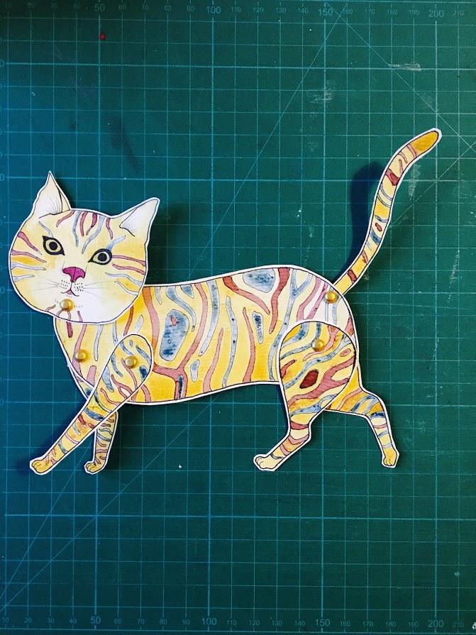 'Chat'Marionnette sur papier - encre de chine noire - aquarelle - pastels -