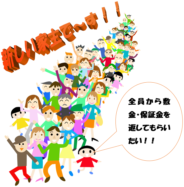 家主の交代と敷金・保証金の承継について東京から至近?の敷金返してnetが説明致します。