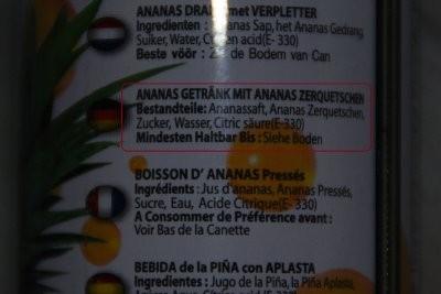 Ein Saft aus Ananas Zerquetschten. Ja, ist klar...