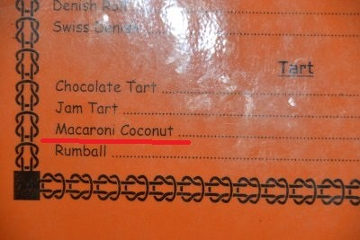 Kokosnuss Macaroni? Beim Bäcker???