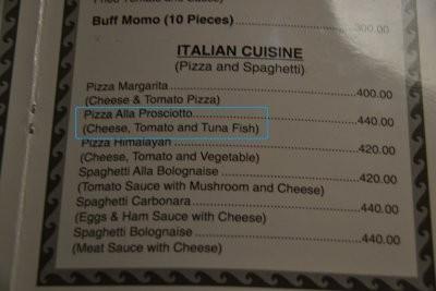 Pizza alla prosciuto - ohne Schinken, dafür mit Thunfisch.