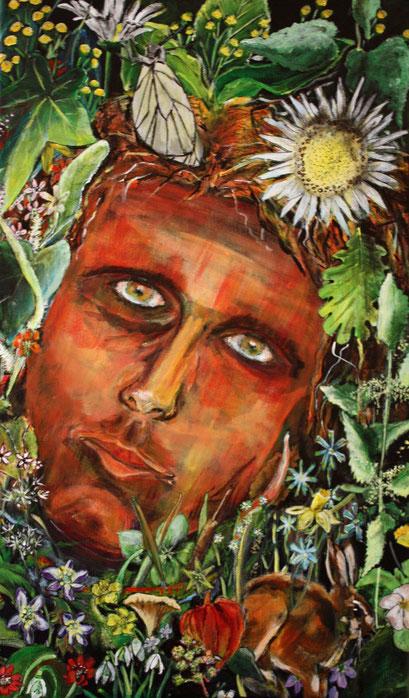 """Faun (Teil 2 von Diptychon """"Faun trifft Flora""""), Akryl auf Leinwand, 30 x 50 cm, Susanna Schürch 2018"""