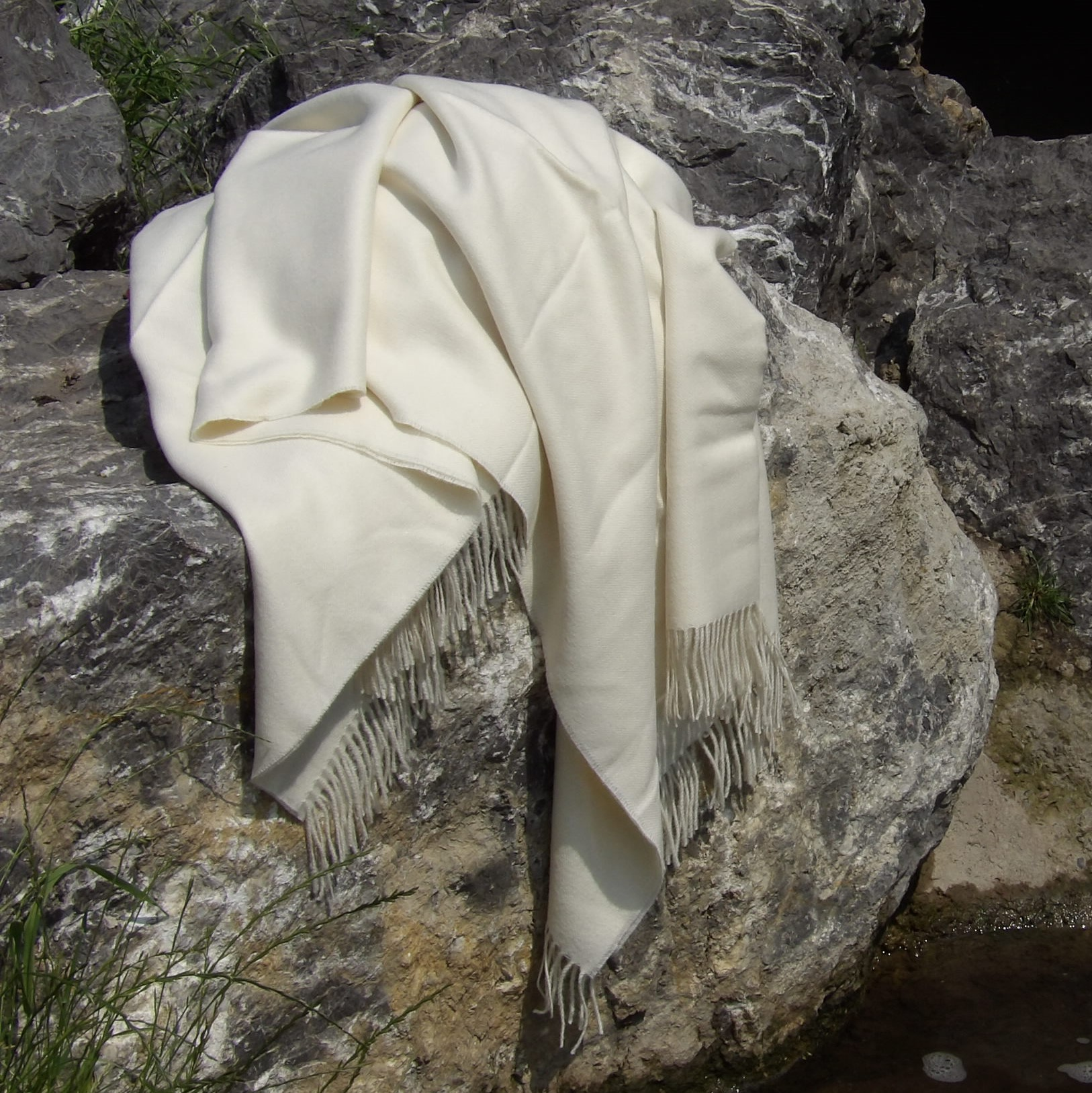 Baby Alpaka  Decke Premium, Weiß