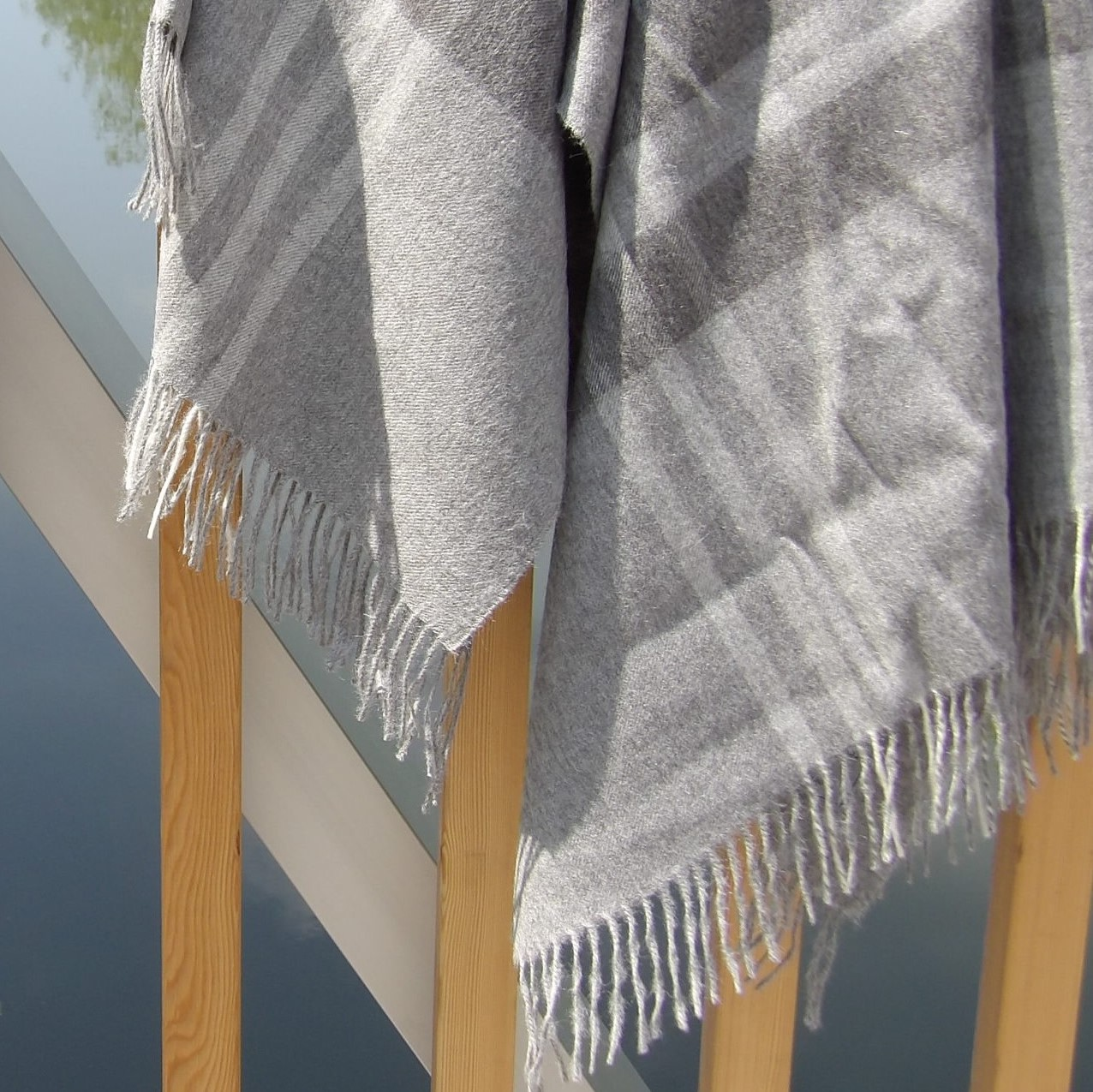 Baby Alpaka Decke Premium Grau, gestreift