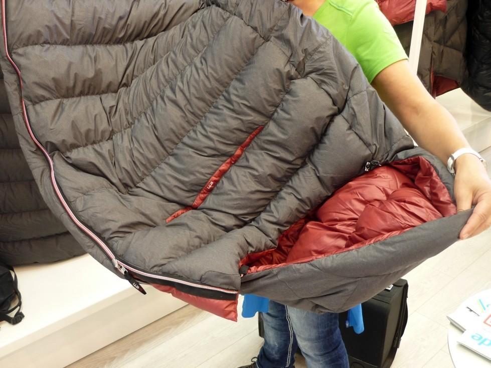 neuer Daunenschlafsack mit griffigem Außenstoff, gegen das Verrutschen auf der Matte
