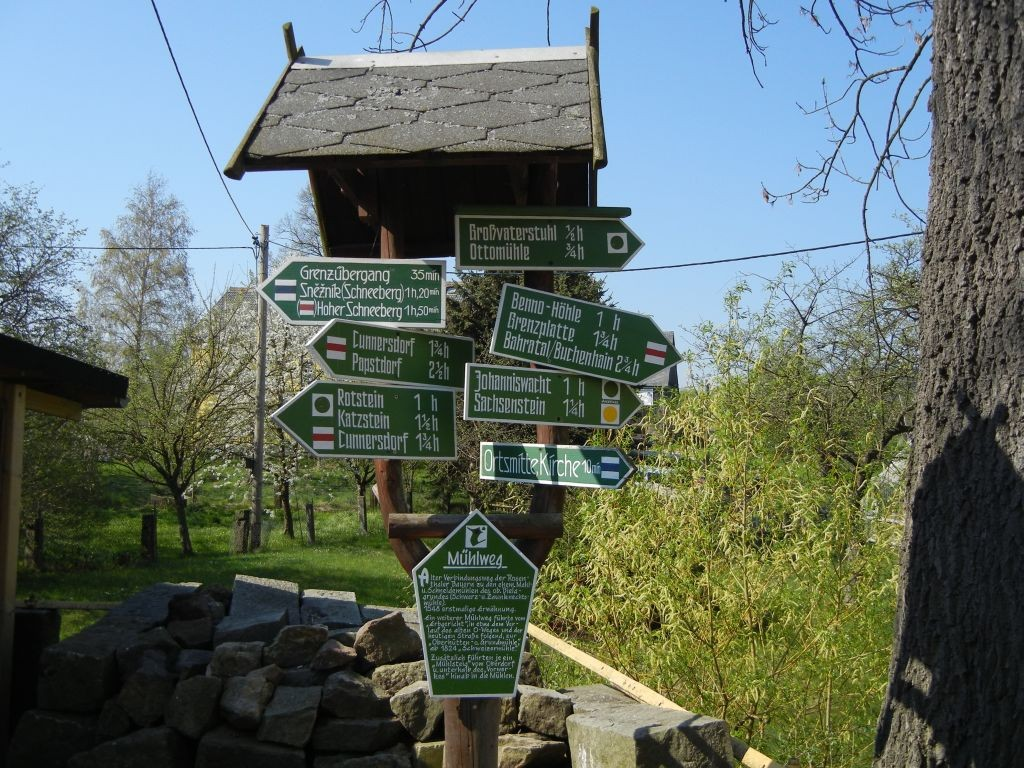 Wegweiser im Ort Rosenthal (Bielatal)