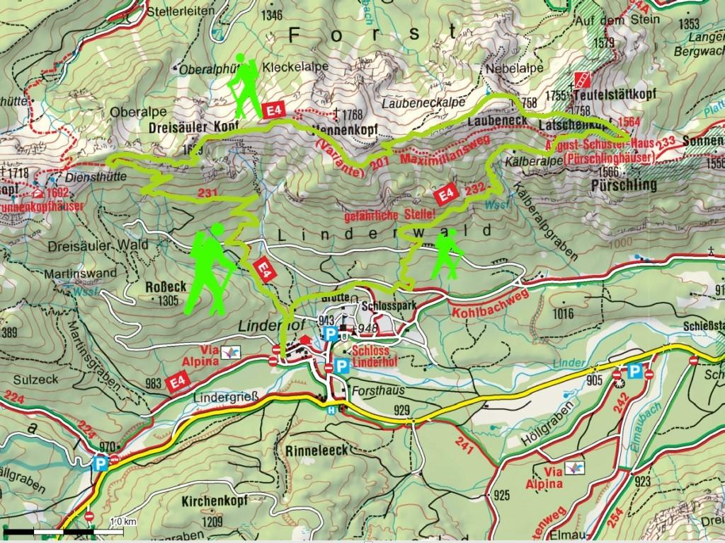 Unsere Wanderung beginnt am Schloß  Linderhof (Parkgebühr) .Straff geht es durch urwüchsigen Bergwald hinauf zu den Pürschlinghäusern. Waren anfangs die Gipfel noch frei, so ziehen bereits jetzt am Vormittag zunehmend Wolken auf. Aber ein Blick zur Zugspi