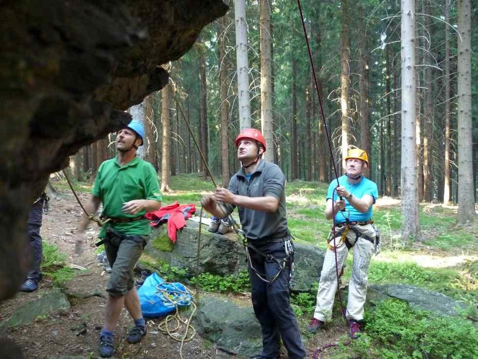 Klettern am Schwarzen Stein in Grünbach/Vogtland/Sachsen