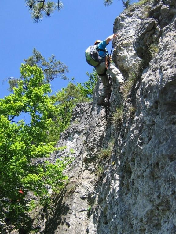 Im 1. Teil des Hohenglück Klettersteig (Hersbrucker Scheiz)